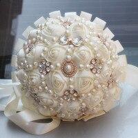 Handmade Pearl Bukiet Ślubny Mariage Ivory Cream Sztuczne Kwiaty Wstążka Rose Połowa Piłka Pianka Stitch W226-5 Bukiet Ślubny