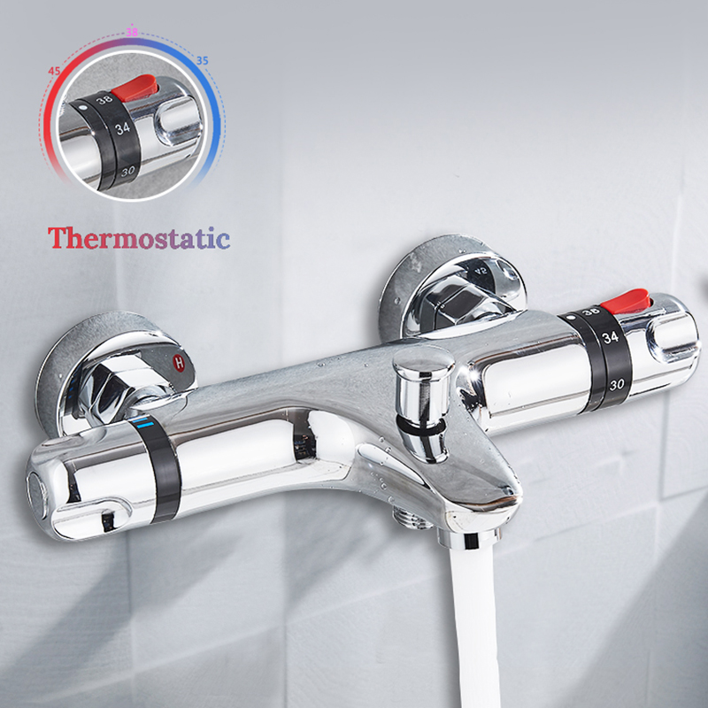 Chrome Thermostatic Shower Faucets Set Bathroom Thermostatic Mixer Tap Hot And Cold Bathroom Mixer Mixing Valve