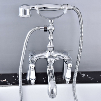 цены Polished Chrome Deck Mounted Tub Mixer Faucet Dual Handle Hot and Cold Water Tap Telephone Style + hand shower Ntf761