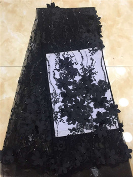 White Modern design French lace African embroidery tulle lace fabric french mesh beads lace fabric 3D Flower wedding dress black
