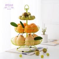 Three layer fruit basket multi functional European fruit plate household living room fruit plate creative fruit shelf