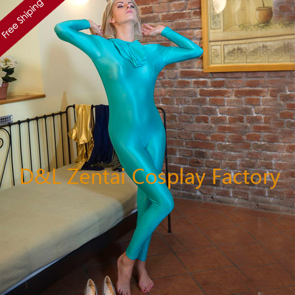 Free Shipping DHL Unisex Adult Lake Blue Zentai Lycra Suit Halloween Costume Without Hand and Foot SP1339