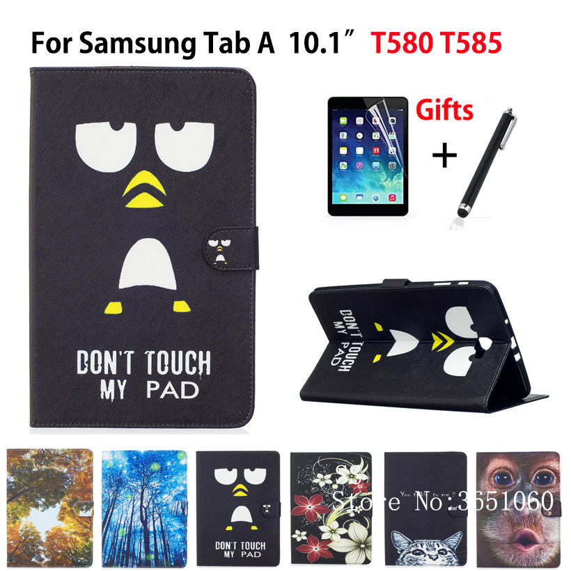SM-T585N Tablet Case For Samsung Galaxy Tab A A6 10.1 2016 SM-T580 T585 T585N Smart Cover Funda PU Leather Shell+Film+Pen tempered glass for samsung galaxy tab a 10 1 2016 screen protector for galaxy tab a 10 1 sm t580 sm t585 or sm p580 sm p585