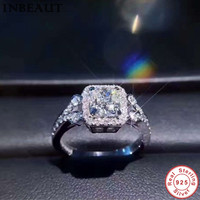 INBEAUT 100 Real 925 Sterling Silver Sparkling AAA Stone Ring Women Classic Perfect Princess Cut Zircon