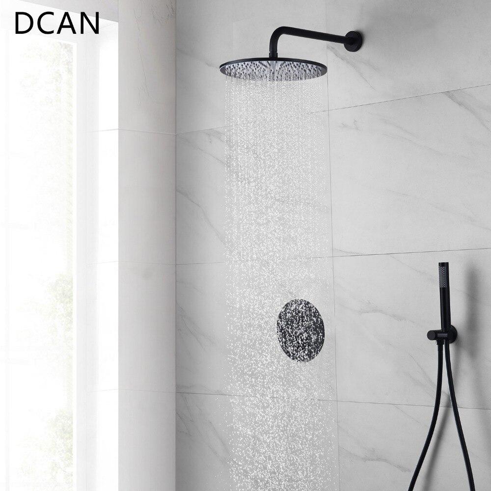 DCAN Shower System Black Rainfall Shower Head Brass Body Hand Shower Bathroom Rain Mixer Thermostatic 10 quot 8 quot Shower Set in Shower System from Home Improvement