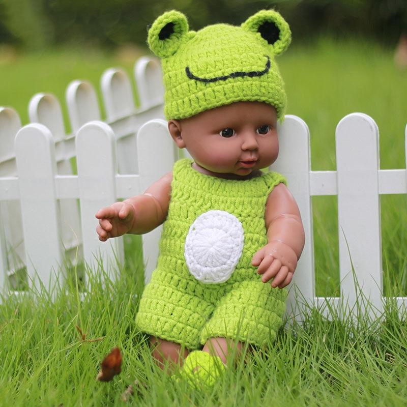 30cm Newborn Reborn Doll Handmade Black Boy Girl Baby Vinyl Doll with Green Knitted   Dress
