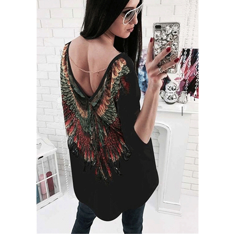 Spring White Back Women's T-shirt Printed With Colors Wings V-neck Long Sleeve Casual Style T Shirt Female