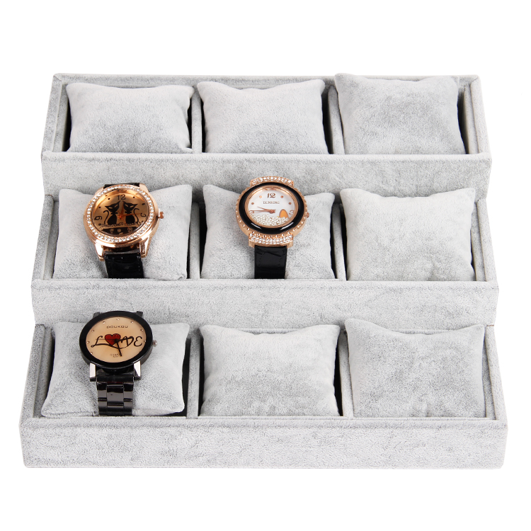 gray velvet jewelry display tray with 3 layers pillow for bangle bracelet watch