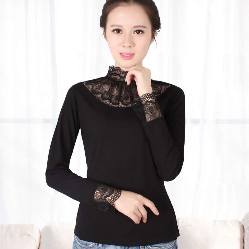 Autumn Thermal Underwear Female Loose Turtleneck Lace Cuff Slimming Korean Large Yard Inner Wear Long Sleeved Warm T-shirt Women