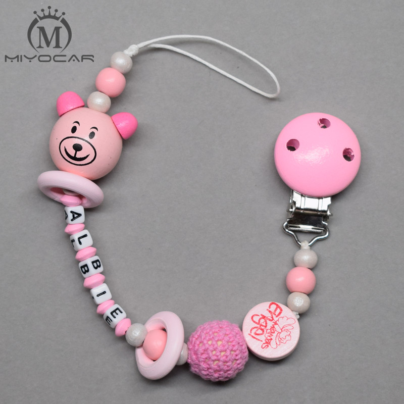 MIYOCAR Personalised Any name lovely 3D bear doll pink wooden beads dummy clip holder pacifier clip soother chain teether clip