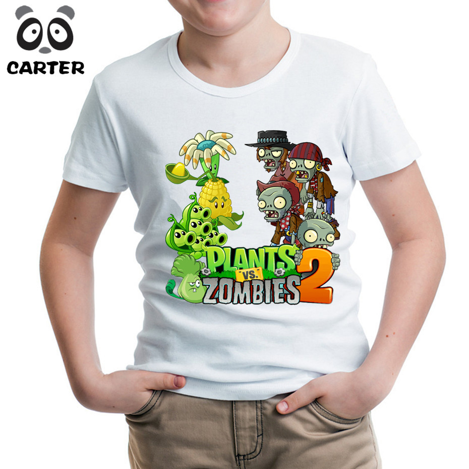 Game Plants Vs Zombies 2 Print Funny T-Shirts for Boy and Girl,Kids Summer Tops Short Sleeve Clothes Game Baby Soft T Shirt
