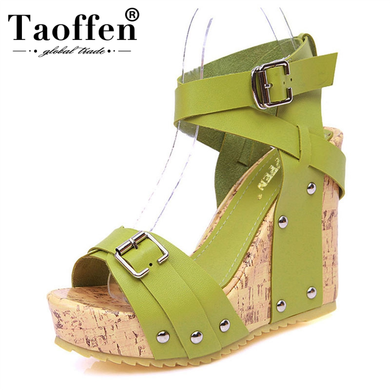 TAOFFEN Free shipping NEW high heel wedge sandals footwear fashion women dress sexy slippers shoes P5852 EUR size 33-40