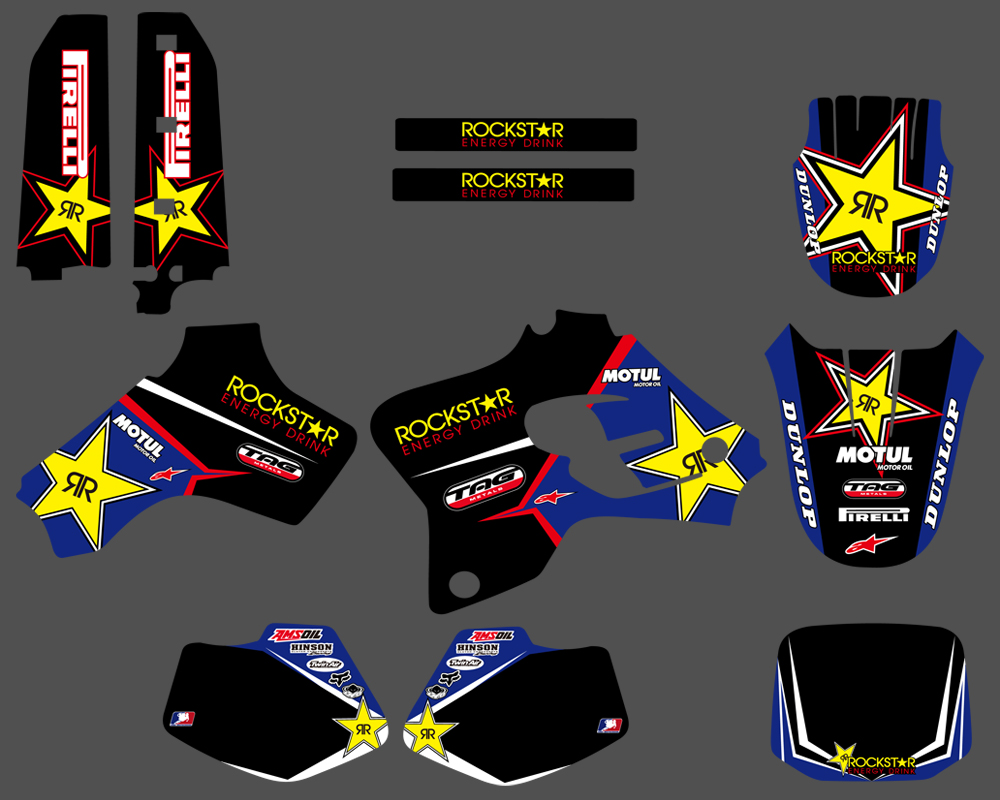 NICECNC Star Team Graphic Background Decal And Sticker Kit For Yamaha YZ80 YZ 80 1993 1994 1995 1996 1997 1998 1999 2000 2001