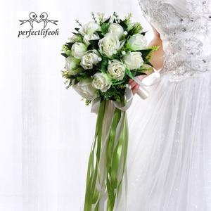 Image 2 - Perfectlifeoh ראמוס דה novia לבן רוז כלה זר חתונת פרחים רומנטי משי זרי חתונה עבור כלות