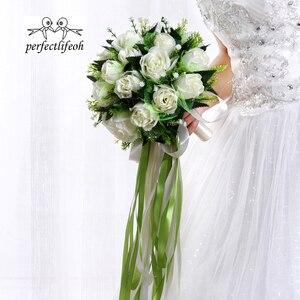 Image 2 - باقة الزفاف من perfectlifeoh Ramos de novia بوكيه من الورود البيضاء باقة زهور الزفاف الرومانسية من الحرير للعرائس