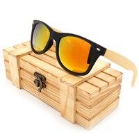 BOBO BIRD CG004 Handmade Sunglasses Colorful Polarized Lens Bamboo Black Plastic Frame Eye Wear