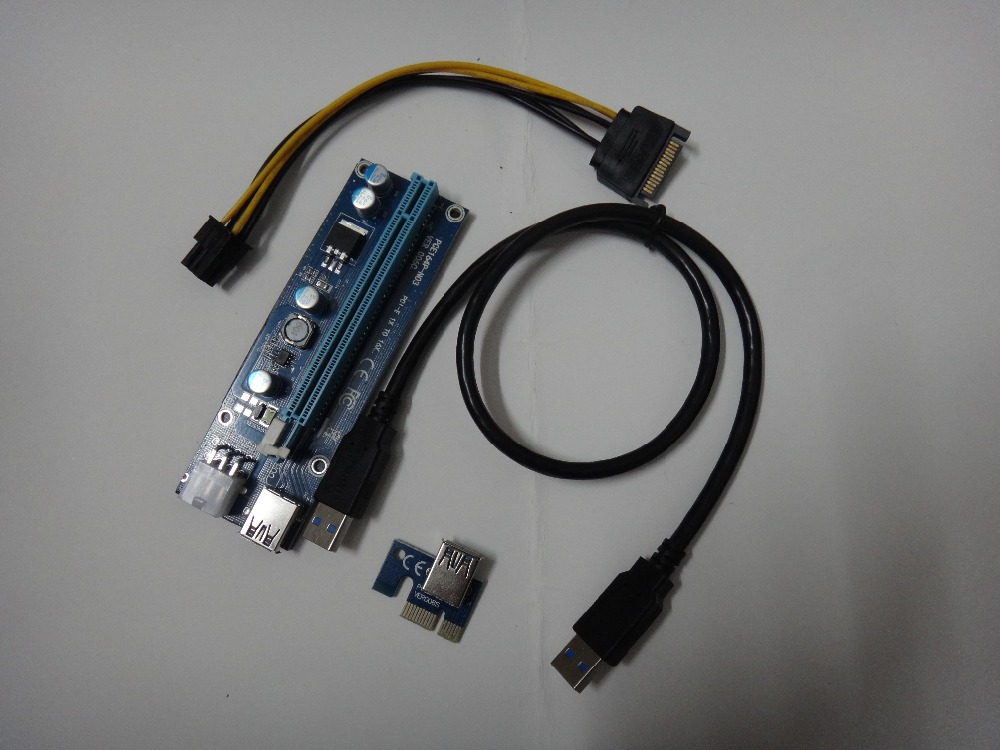 bilder für 50 Teile/los PCIe 1x zu 16x PCI Express Extender Riser-karte USB 3,0 PCI-e Verlängerung Adapter mit SATA 15pin zu 6pin stromkabel RU