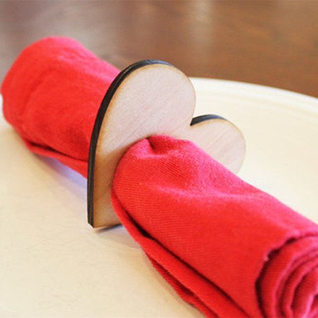 12pcs Wooden Heart Napkin Ring Wood Napkin Holders Rings Wedding