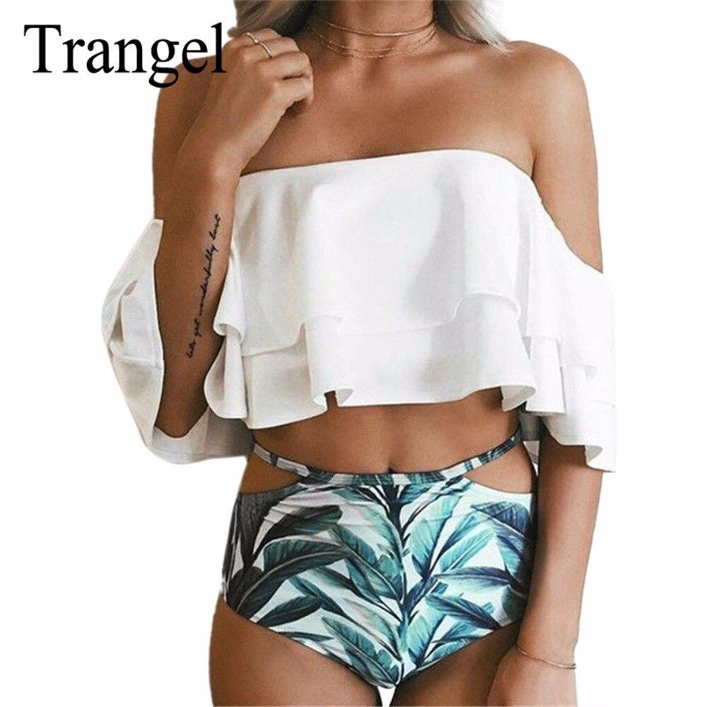 Trangel sexy bikinis high waist swimsuit Women Swimwear Ruffle Vintage Bandeau bikini set 2017 bathing suits beach wear