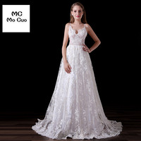 Elegant Vestidos De Noiva Long Wedding Dress 2017 Sexy Spaghetti Straps Appliques Lace Sweep Train Tulle