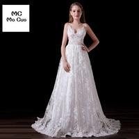 Elegant Vestidos De Noiva Long Wedding Dress 2017 Sexy Spaghetti Straps Appliques Lace Sweep Train Tulle