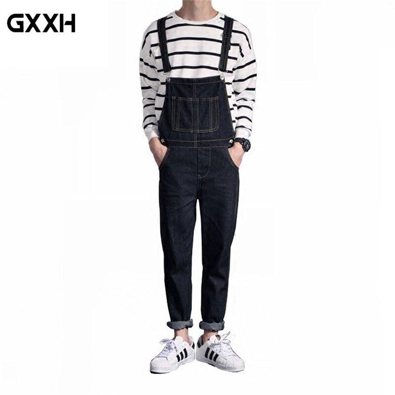 2019 New Mens Distressed Jeans Ripped Jumpsuit Denim Overalls Men Cargo Pants With Suspenders Denim Bib Overalls For Men
