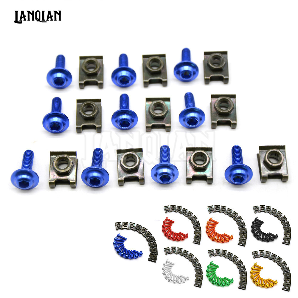 Universal 6MM Motorcycle Accessories Fairing body work Bolts For  Ducati monster m400 m600 m620 m750 m750ie m900Yamaha MT03 MT09 10 pcs 6mm universal motorcycle cnc fairing body work bolts screws for yamaha mt 03 mt 09 r1 r3 tmax