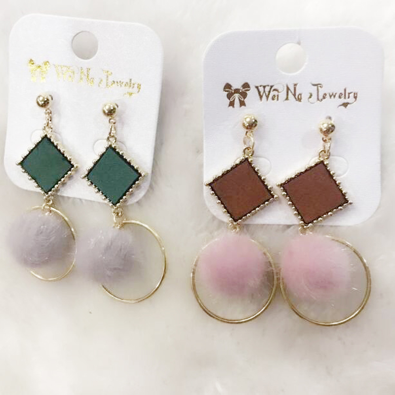 Charmcci Hot Sale Trendy Cute Drop Pom Pom Ball Dangle Earrings For Women Vintage Geometric Square Fur Ball Pendientes Earrings