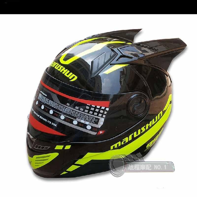 Casco nero con giallo mais fronte Pieno del motociclo del casco di disegno di personalità Anti appannamento visiera uomini e donne casco freddo