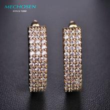 Mechosen venta caliente rhinestone pendientes cz diamond cobre boucles d'oreilles aretes de cristal brillante regalo de navidad muchacha de las mujeres