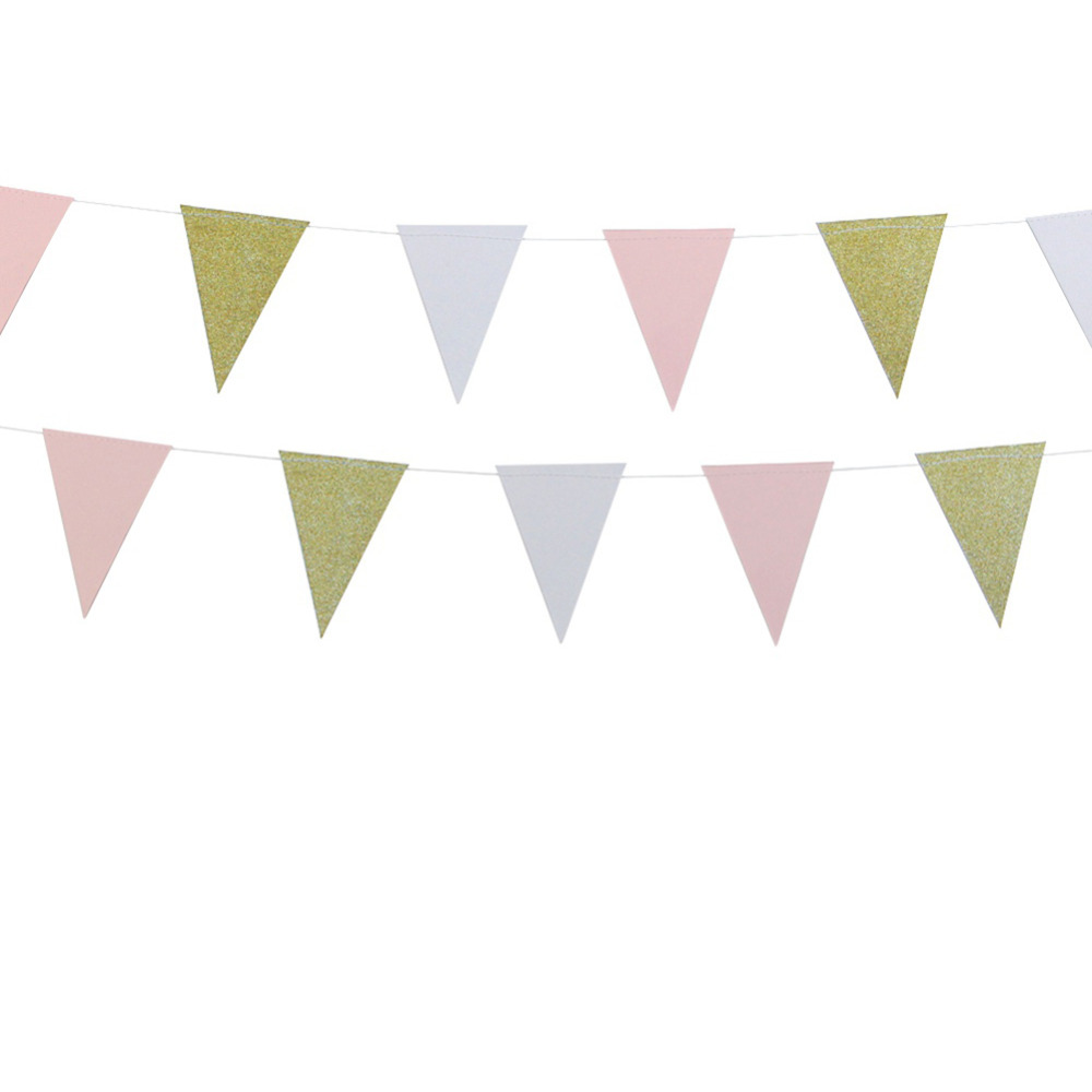 10ft Glitter Gold Pink and White Paper Bunting Ban...
