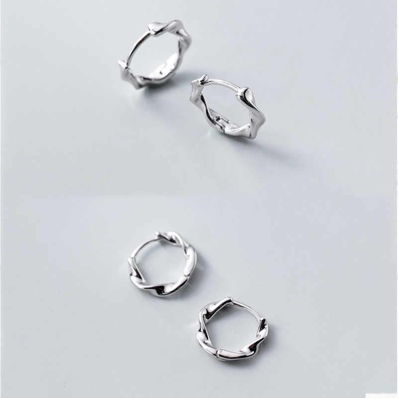 Inzatt Nyata 925 Sterling Silver Minimalis Twist Round Hoop Anting-Anting untuk Wanita Pesta Baik Perhiasan 2019 Aksesoris