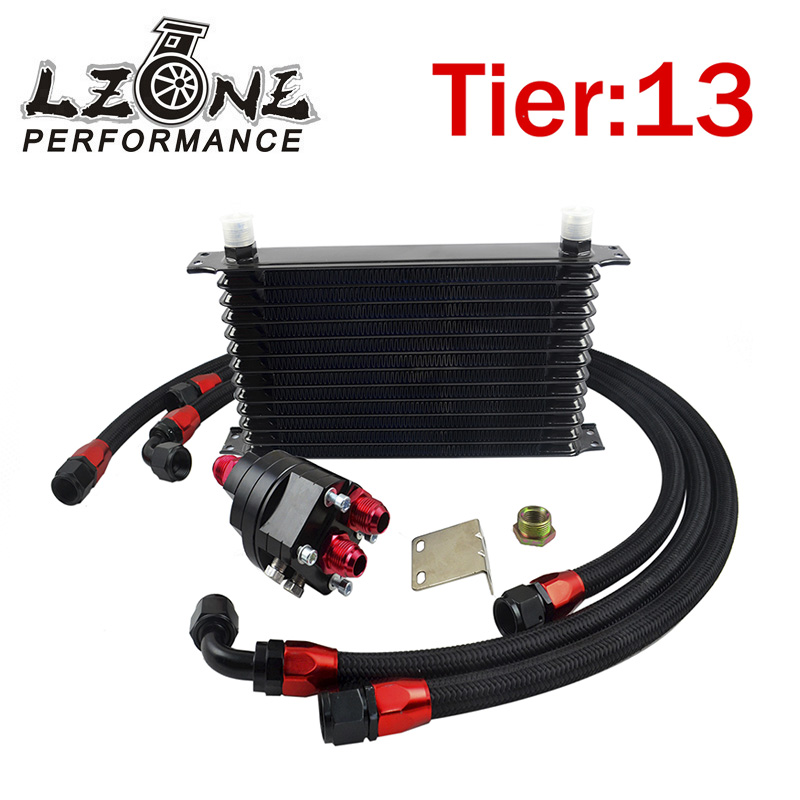 LZONE RACING - Universal 13 Row 10AN Aluminum Engine Transmission Oil Cooler Relocation Kit Oil Cooler Kit JR5113BK+6724BK+3PCS pqy store blue 15 row an 10an universal engine oil cooler kit aluminum hose end kit pqy5128