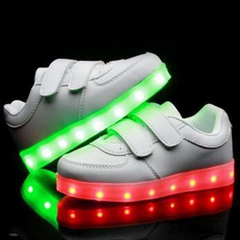395eb0bcf39eb usb childrens bright child shoes white basket led kids trainers girl boys  led slippers light up luminous infant sneaker glow -in Sneakers from Mother    Kids