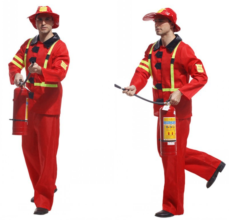 Men Halloween Cosplay Costume Male Adult Stage Firefighters Costume Top+Pants+Hat Men Firemen Costumes Adult Game Uniforms 18