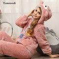 Пижамы Для Женщин Зима Пижамы Теплый утолщение Фланель Пижамы С Капюшоном Пижамы Коралловый Флис Женщин Пижамы Lounge Пижамы набор