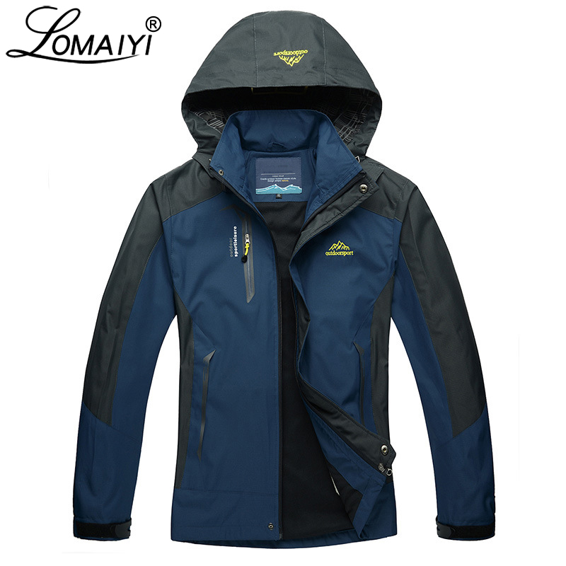 LOMAIYI Waterproof Men Jacket Spring Autumn Winter Fleece Lining Coat Mens Work Windbreaker 5XL Casual Male Track Jackets AM163