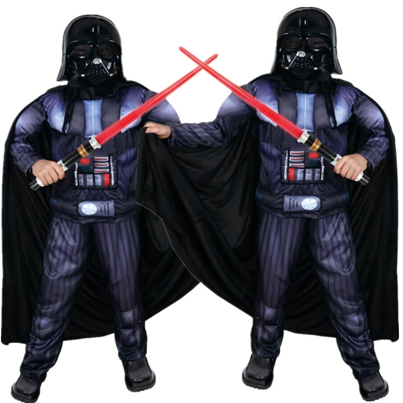 Child Cosplay Kids Costume Children Star War Imperial Black Knight 3D Muscle Halloween Fantasy Party Christmas Masquerade S M L