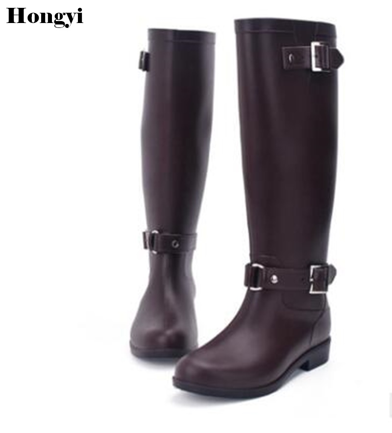 Women Tall Rain Boots Ladies Low Heels Waterproof Welly Boots Solid Buckle High Style Nubuck Rainboots 2018 New Fashion Design