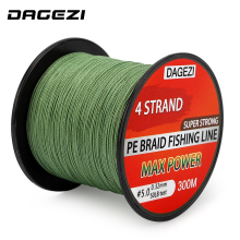 DAGEZI 10-80LB 4 strand Weaves BRAIDED fishing line 300m Super Strong Multifilament 100% PE Braided Fishing Lines Low Memory