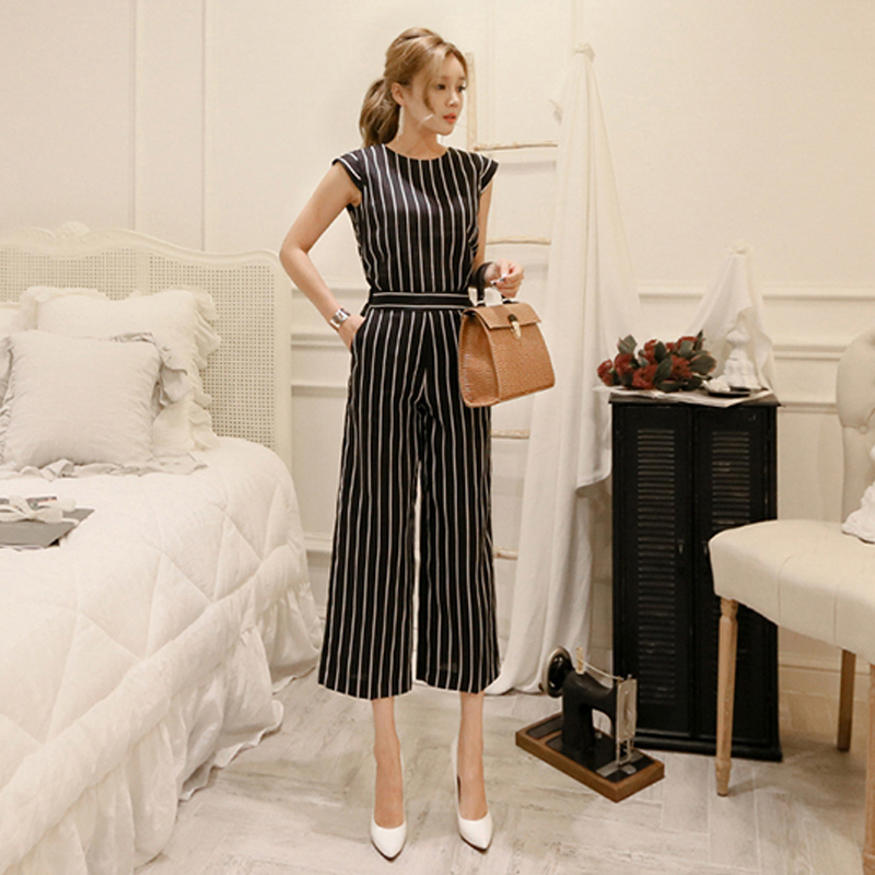 2 Pieces Set Striped OL Suits Sleeveless Sash Tops and High Waisted Wide Leg Pants Fashi ...