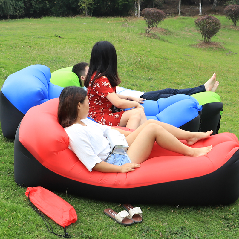 Outdoor Camping Mat No Pump equipment Lazy bag Inflatable Air Sofa Sleeping Pad Breathable Single air bed bag chair Mat Mattress