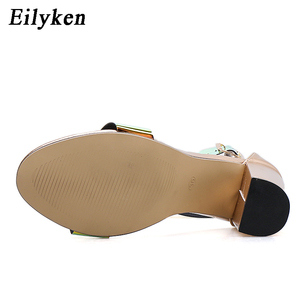 Image 5 - Eilyken Fashion Patent Leather Women Buckle Strap Sandals For Summer High Heels Peep Toe Shoes Ladies chunky heels 10.5CM Shoes
