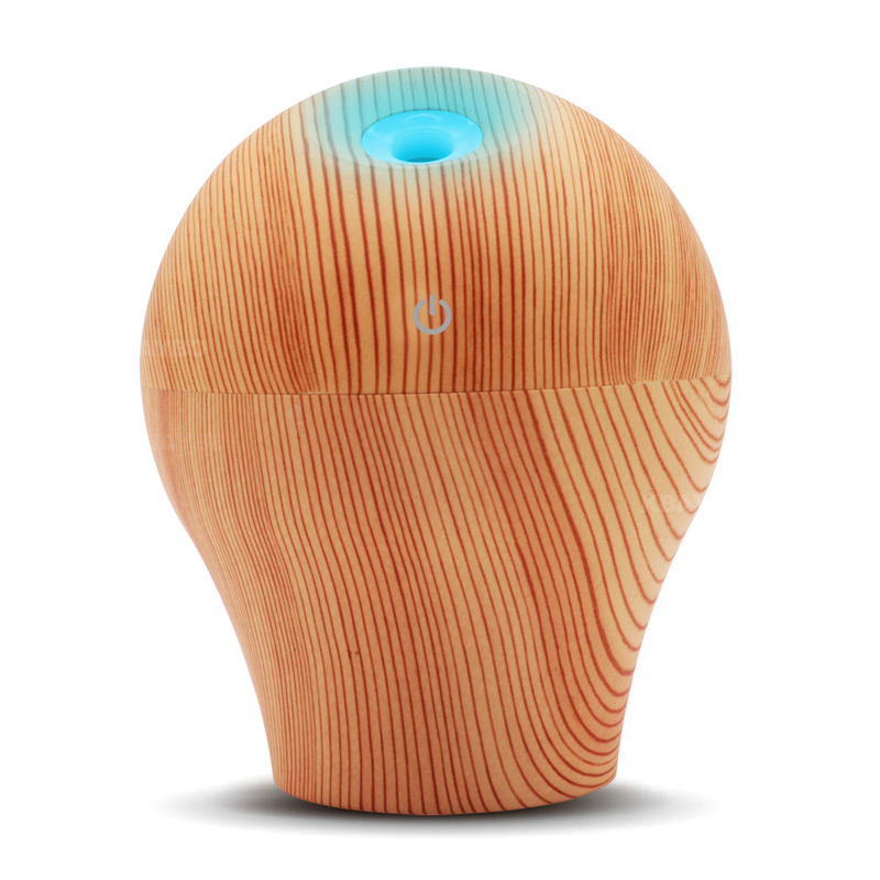 250Ml Wood Grain Air Humidifier Ultra Quiet Aroma Essential Oil Diffuser With Colourful Night Light
