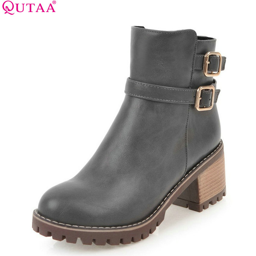 QUTAA 2018 Women All Match Ankle Boots Zipper Square High Heel Pu Leather Solid Women Shoes Ladies Motorcycle Boots Size  34-43 vinlle 2017 women pumps slingback shoes high heels all match pu leather square high heel elegant ladies summer shoes size 34 43