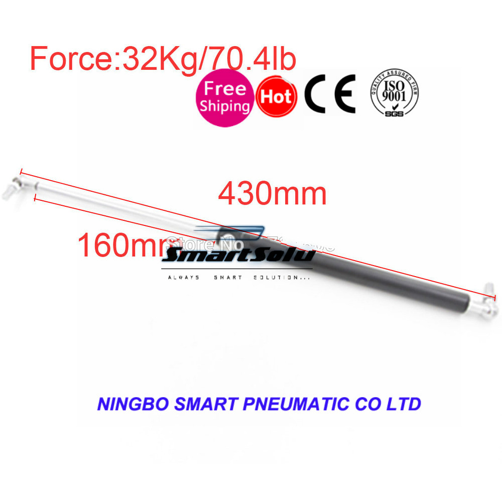 free shipping32KG/70.4lb Force 160mm Long Stroke Auto Gas Spring Hood Lift Support 430*160mm Central Distance M8 Gas Spring 60kg 132lb 400mm force 160mm long stroke auto gas spring hood lift support 400 160mm central distance m8 gas springs in springs