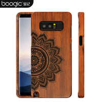 Original Wood Case For Samsung Galaxy Note 8 Hard Carved Pattern Retro Coque Protective Back Cover