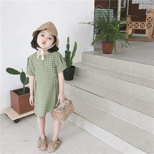 Summer Girl Dress Kids Infant Girls short Sleeve green Plaid Soft Cotton Princess Dresses Baby Clothes