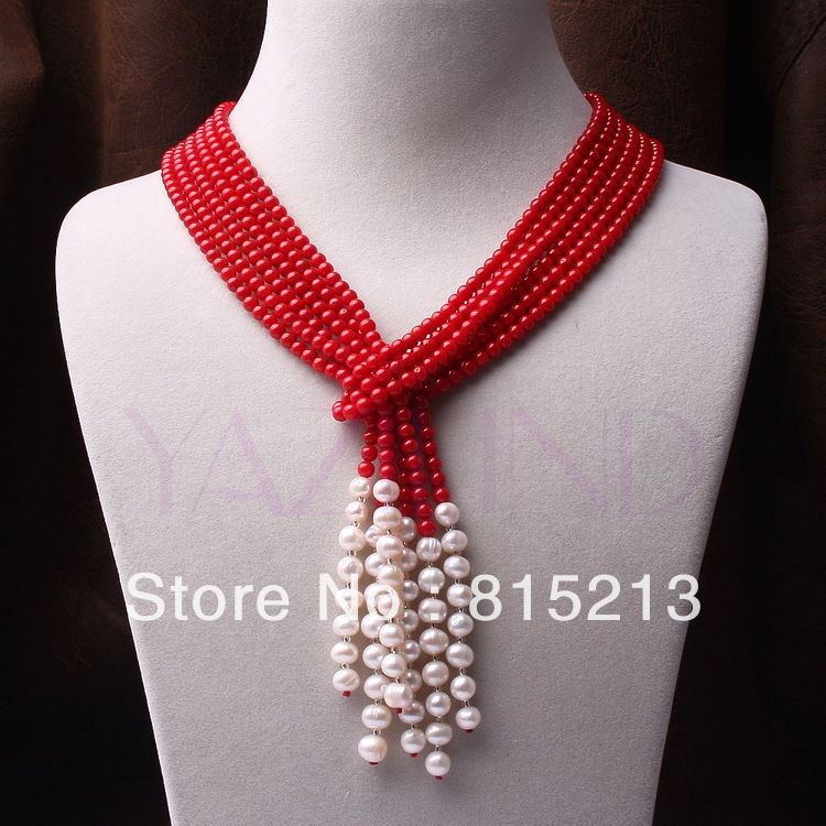 Ddh0060 3 brins main rouge corail ballon rond perle écharpe style fine chaîne collier