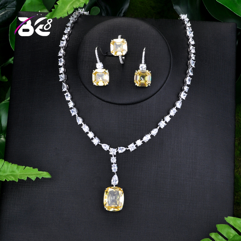 Be 8 Latest fashion AAA Cubic Zirconia Necklace Earrings Wedding Bridal Jewelry Sets Dress Accessories parure